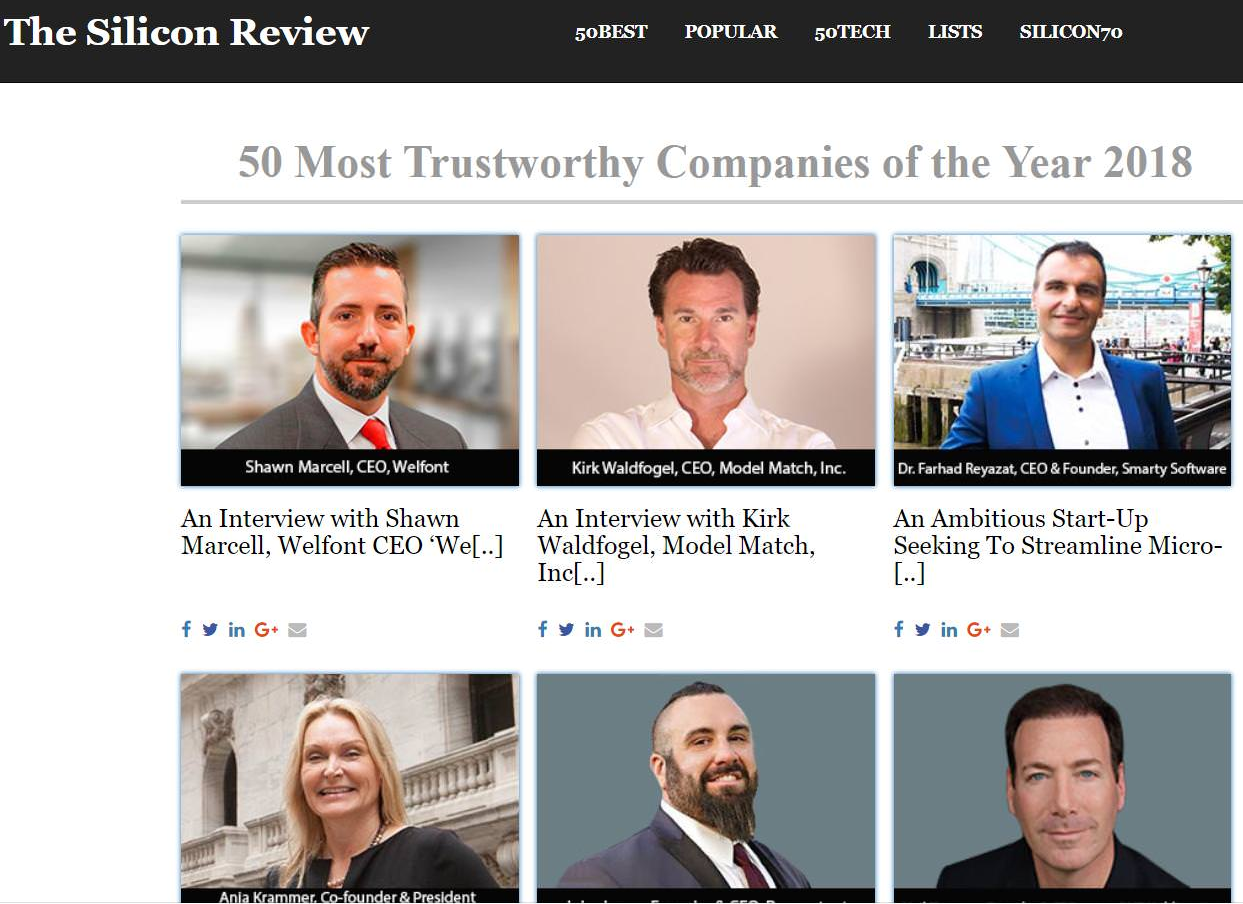 Smarty and its CEO, Farhad Reyazat Make the Top 50 Most Trustworthy Companies Ranking